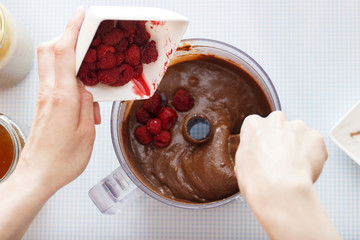 Making Cake - Mixing chocolate batter