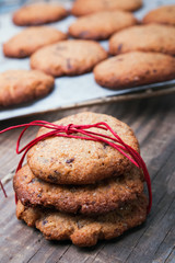 Homemade wholegrain cookies with chocolate