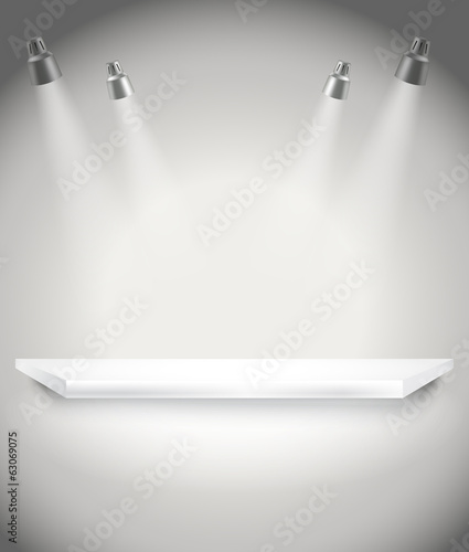 Photorealistic bright stage with spot lights. Presentation vecto
