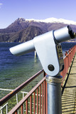 Lecco lakeshore viewpoint color image poster