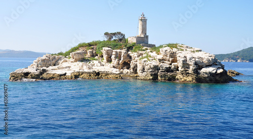 Lighthouse Sea, the island of Corfu, Greece, Europe