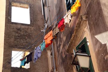 Laundry hanging to dry from window. Old Kerkyra town, Corfu Isla