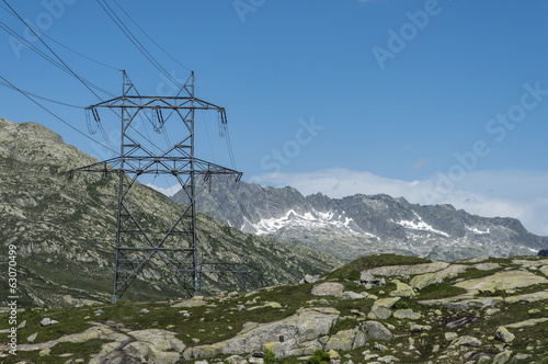Power lines on mountain