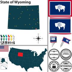 Map of state Wyoming, USA