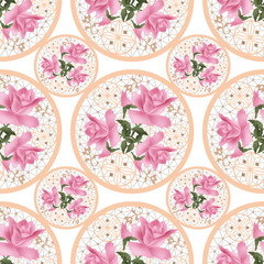 Seamless lace ornamental roses pattern on white background