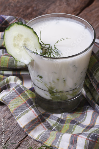 kefir with fresh cucumber, dill in a glass