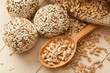 macrobiotic healthy food: balls from ground wheat sprouts with s