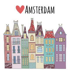 Cute cartoon hand drawn vector european houses in amsterdam