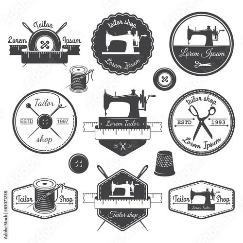 Set of vintage tailor labels, emblems and designed elements. Tai