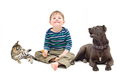 Boy, dog and kitten sitting together