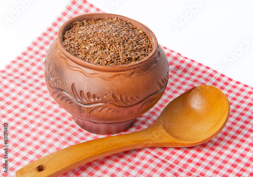 seeds of flax in ceramic pot