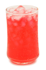 Strawberry Water in glass on white background.