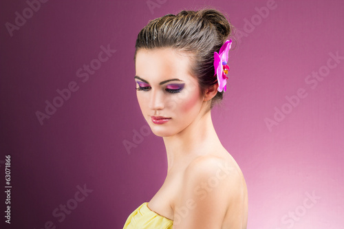 Portrait of caucasian girl - beauty close up - closed eyes