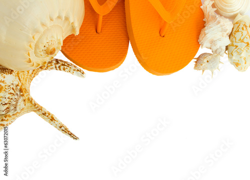 pair of orange sandals seashells