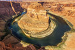 Horizontal view of famous Horseshoe Bend