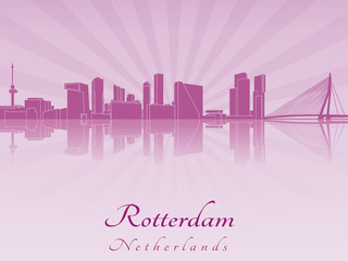 Rotterdam skyline in purple radiant orchid
