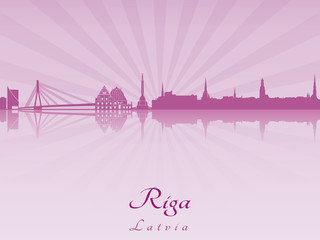 Riga skyline in purple radiant orchid