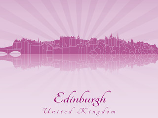 Edinburgh skyline in purple radiant orchid