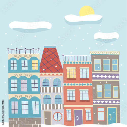 Cute cartoon vector hand drawn town in winter snowy day