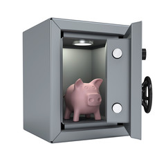 Piggy bank in an open metal safe