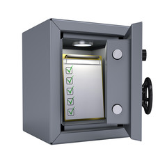 Checklist in an open metal safe