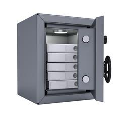 Office folders in an open metal safe