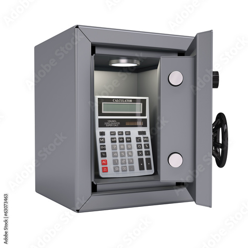 Calculator in an open metal safe