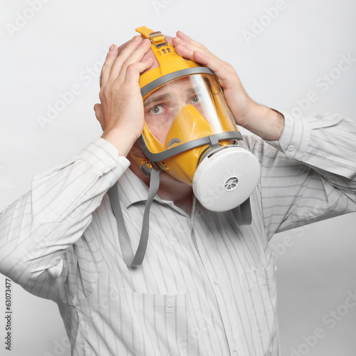 Young man in protection mask. Allergy concept.
