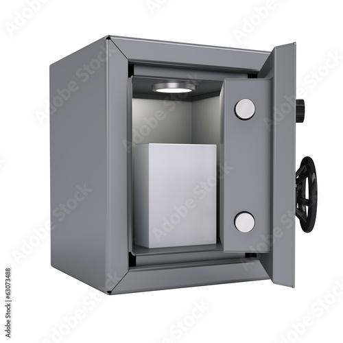White box in an open metal safe