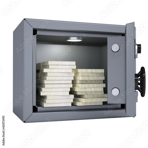 Wads of cash in an open metal safe