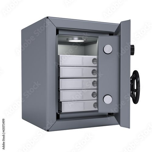 Office folders in an open metal safe