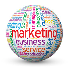 """MARKETING"" Tag Cloud Globe (advertising strategy information)"