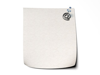Note paper with a pin and email icon attached - isolated white b