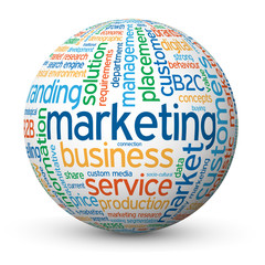 """MARKETING"" Tag Cloud Globe (advertising promotion strategy PR)"