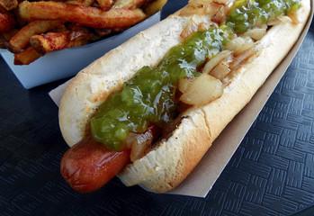 Footlong Hot Dog Closeup