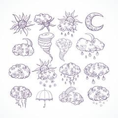 Doodle weather forecast graphic symbols
