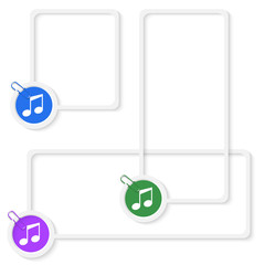 set of three vector boxes for any text with music icon and paper