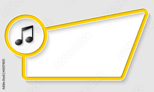 yellow abstract box for text with music icon