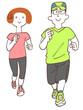 ジョギングする男性と女性