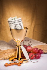 holy communion and dollar money