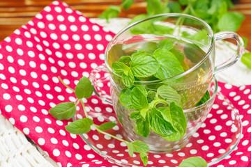 Mint tea with fresh mint leaves
