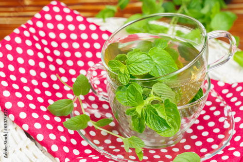 Mint tea with fresh mint leaves
