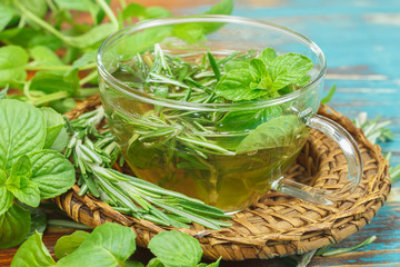 Herbal tea. Rosemary and Mint tea