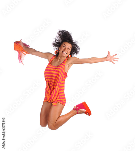 Happy smiling girl jumping