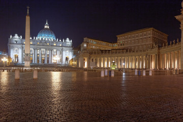 Night landscape of Piazza San Pietro Rome Italy