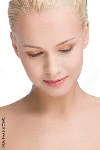 portrait of calm beautiful blond, isolated on white