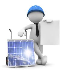 tecnico con carrello e pannelli solari