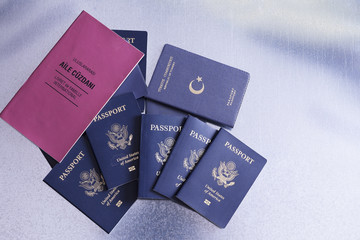 Passports of a tour group going on a vacation