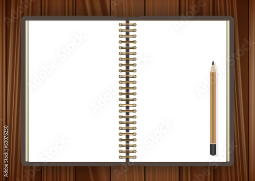 Open notebook and pencil page on wooden background - illustratio
