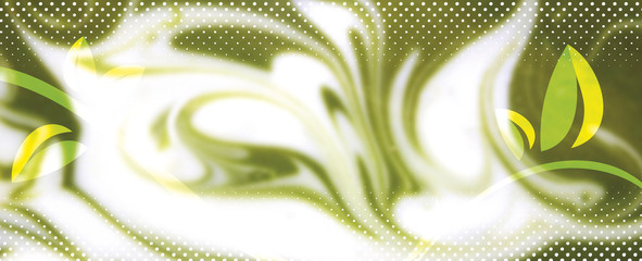 Abstract green background with black wave and japanese symbols